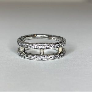 Pandora Double Sparkle and Hearts Ring Size 52
